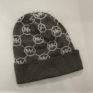 Michael Kors Logo Knit Beanie Hat Gray
